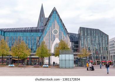 Leipzig, Germany - October 2018: Paulinum, Evangelical Church and Augusteum, main building of Leipzig University at Augustusplatz in downtown Leipzig City