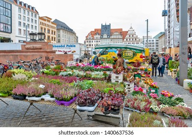Leipzig, Germany - October 2018: Plants and flowers stalls at Marktplatz, the market square in city centre of Leipzig in Germany