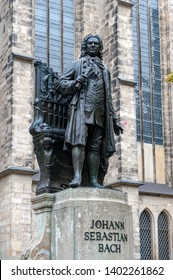 Leipzig, Germany - October 2018: Statue of Johann Sebastian Bach, world famous music composer, at St Thomas Church in Leipzig, Germany