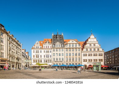 LEIPZIG, GERMANY - SEPTEMBER 22, 2018:  Leipzig city center, the most populous city in the federal state of Saxony, Germany.