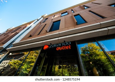 LEIPZIG, GERMANY - SEPTEMBER 22, 2018:  Zalando outlet store located in Leipzig city center, Germany. Zalando is a german electronic commerce company based in Berlin