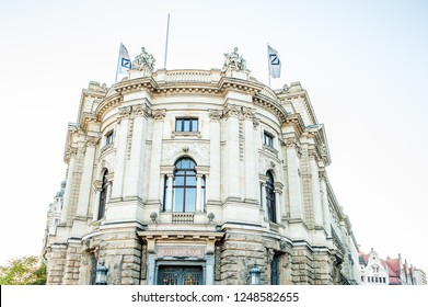 LEIPZIG, GERMANY - SEPTEMBER 22, 2018:  The former bank of Leipzig or Deutsche Bank building, located in the Petersstrasse in Leipzig city center