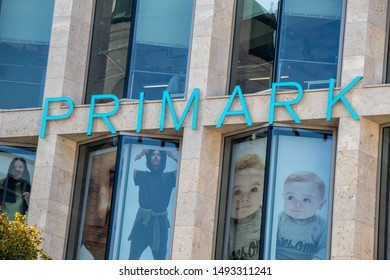 LEIPZIG, GERMANY-August 27,2019. View from the modern business building with the Irish fashion dealer Primark in Leipzig,Germany