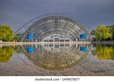 Leipzig, Germany-August 28,2019. View of the entrance area with the glass hall and the congress center of the trade fair grounds of Leipziger Messe, Germany, taken from the forecourt