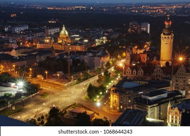 Leipzig at night Saxony Germany City Top View Sunset With City Lights