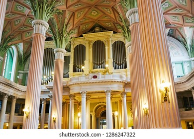 LEIPZIG SAXONY GERMANY - DECEMBER 1ST 2018; Interior of the St Nicholas Lutherean Church in Leipzig with organ, Saxony