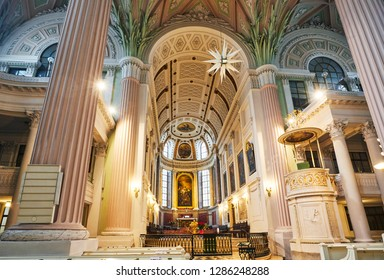 LEIPZIG SAXONY GERMANY - DECEMBER 1ST 2018; Interior of the St Nicholas Lutherean Church in Leipzig with altar, Saxony