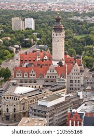 Leipzig Townhall at sunset, aerial view