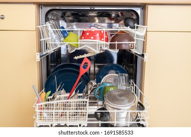 Leipzig,Germany, 04-01-2020 ,dishes in a dishwasher