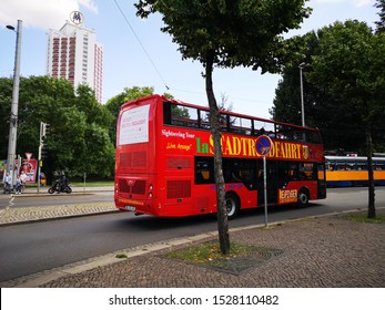 Leipzig,Germany - August 16, 2019: Great offer to get to know the city intensively with the popular hop-on hop-off tours for sightseeing in Leipzig city for one day city tour.