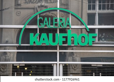 LEIPZIG,GERMANY-SEPTEMBER 09,2018:Neon sign of a Kaufhof branch in Leipzig.Kaufhof will connect with Karstadt in the future.