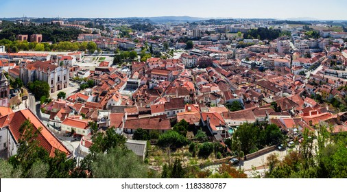 Leiria, Portugal. The city of Leiria seen from the Castle of Leiria. Cityscape and Skyline