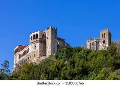 Leiria, Portugal. Medieval Leiria Castle built on top of a hill with a view over the Gothic Palatial Residence or Pacos Novos. A Templar Knights Castle