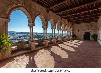 Leiria, Portugal - October 10, 2017: Loggia of the Gothic Palatial Residence aka Pacos Novos of the Leiria Caste overlooking the Leiria City