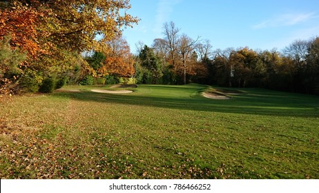 leisure activity - green fairway and sand bunkers surrounded by trees on golf course
