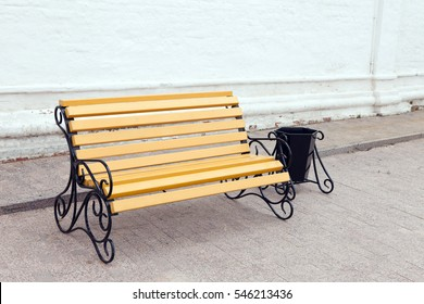 The leisure bench with trash receptacle