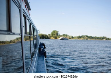 Leisure boat moving on the river