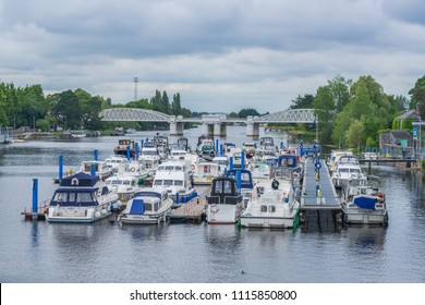 leisure boats on the river Shannon, at Athlone, Co. Westmeath, Ireland, taken on July 11th, 2017.