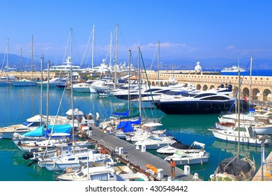Leisure boats and yachts inside the harbor of Antibes, French Riviera, France