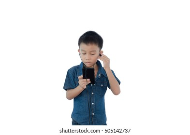 leisure, children, technology and people concept - smiling boy with smart phone and headphones listening to music or playing game on white background.