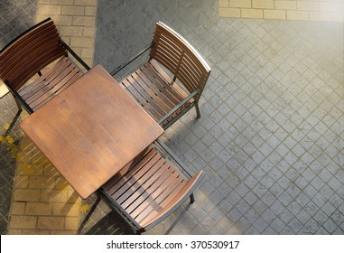 leisure corner with wood chairs and table