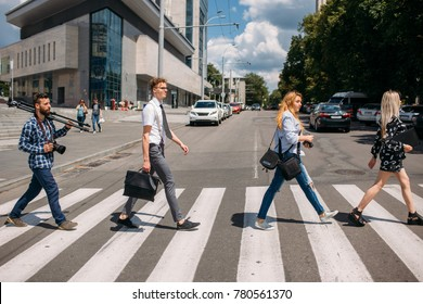 leisure crosswalk urban fashion youth lifestyle concept