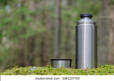 Leisure equipment - thermos and cup - in a green forest
