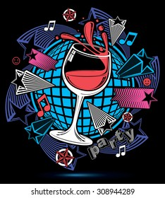 Leisure fantasy backdrop with musical notes and salute, lounge theme poster. Glass goblet with wine placed over earth symbol.
