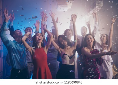 Leisure, lifestyle, careless, carefree concept. Photo of ecstatic, positivity, happiness, emotion, excited, rejoice ladies and gentleman rest, relax, chill in nightlife party
