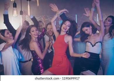 Leisure, lifestyle concept. Careless, sweet, gorgeous, nice, stunning, adorable, good-looking lady in fabulous dress, skirt dance against funky mood friends with raised hands up and big toothy smile