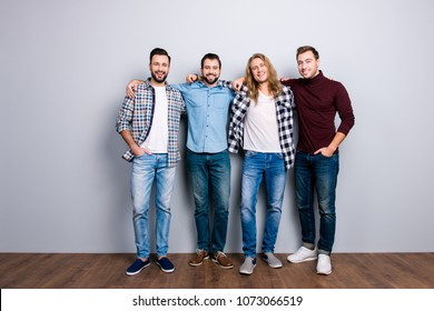 Leisure lifestyle masculinity diversity stag-party positivity pals concept. Full-size full-length portrait of attractive delightful friendly men, checkered shit, shoes isolated on gray background