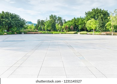 Leisure Square Park in the city, vast clean square and grassy woods