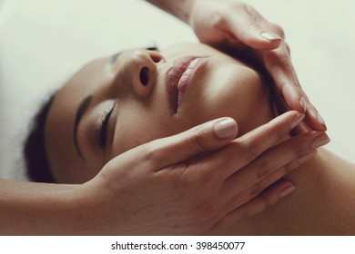 Leisure. Woman in spa salon