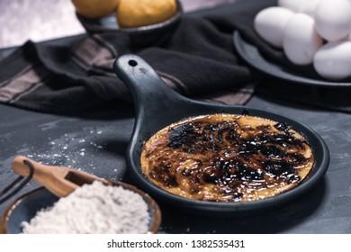 Leite creme, portuguese desert similar to creme brulee, cream brulee and burnt cream.