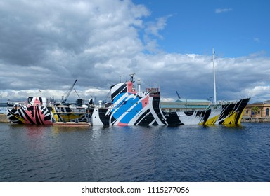 Leith Edinburgh, Scotland UK - 07/30/2016: MV Fingal Docked in the Albert Dock Basin, painted in dazzle camouflage