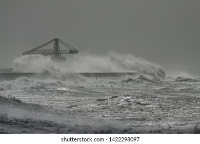 Leixoes Harbor, north of Portugal, under heavy storm.