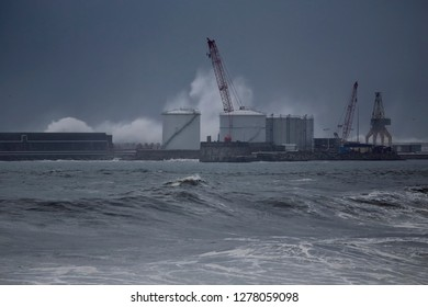 Leixoes harbor south-west pier under heavy storm, north of Portugal