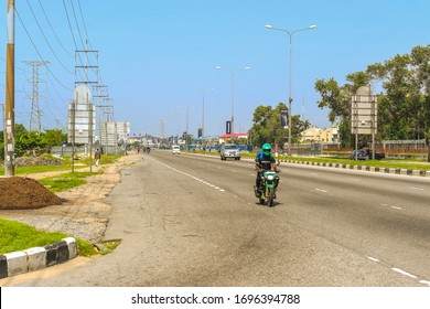Lekki, Lagos / Nigeria - April 7th 2020: The otherwise very busy Lekki-Epe expressway, looking scanty due to the lockdown order in Nigeria by the government, to stop the spread of the coronavirus