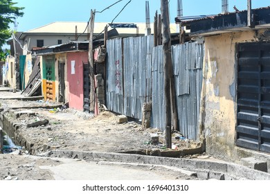 Lekki, Lagos / Nigeria - April 7th 2020: Empty shops obeying the Lagos lockdown order; that is meant to combat the spread of the coronavirus in Nigeria