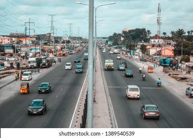 Lekki, Lagos/Nigeria - May 5 2019: View of the Lekki Epe express way, in Lagos, Nigeria.