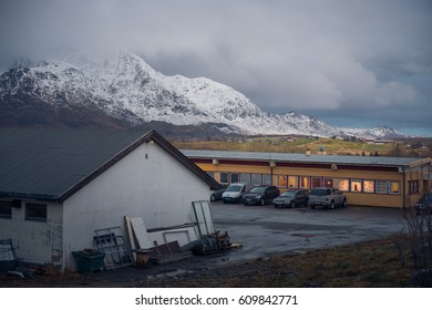 Leknes, Norway - December 1, 2016: Local buildings in Leknes city in Lofoten Islands, Norway
