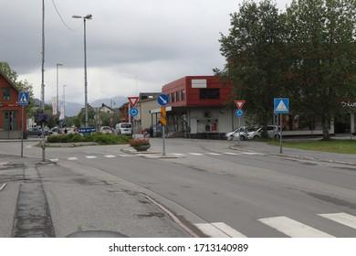 Leknes / Norway - June 19 2019: Street view in town Leknes on Lofoten Islands, Norway