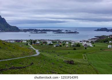 Leknes view , Lofoten Islands - Shutterstock ID 1251914395