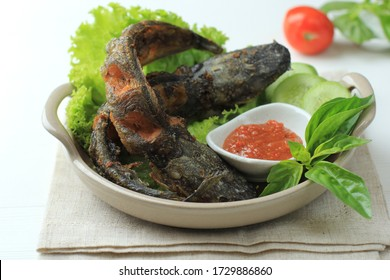 Lele Goreng or Fried Catfish is Traditional Indonesian Culinary Food. Catfish and Chilli Tomato Paste, Popular Street Food Called Pecel Lele Lamongan