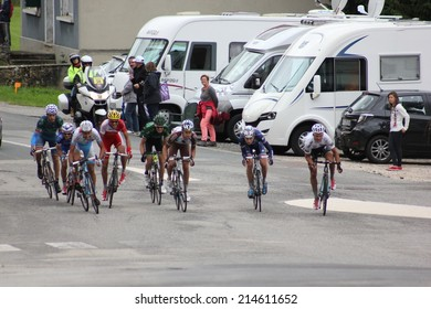 LELEX, FRANCE - AUG 15: Julian Alaphilippe and Pierre-Roger Latour riding Le Tour de l'Ain UCI Europe Tour Pro Race on August 15, 2014 in Lelex, Monts du Jura, France. Bert-Jan Lindeman won the race.