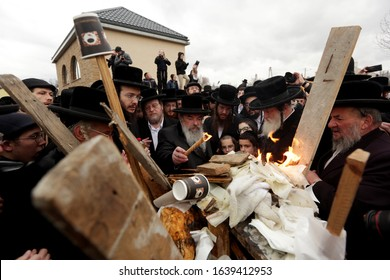 Lelow, Poland - February 2, 2020: Hasidim from all over the world came to Lelów on the 206th anniversary of the death of tzaddik Dawid Biderman