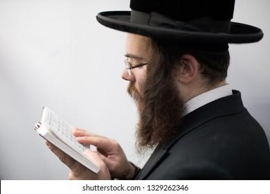 Lelow/Poland- 03 February 2017: Hassidic jew celebrating during Hasidic holiday of the 203 anniversary of tzadik Dawid Biderman's death