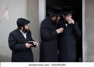 Lelow/Poland- 03 February 2017: Hassidic jew/jews celebrating and praying during Hasidic holiday of the 203 anniversary of tzadik Dawid Biderman's death,
