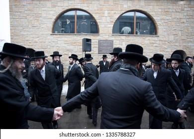 Lelow/Poland- 03 February 2017: Hassidic Jews celebrating, dancing and praying during Hasidic holiday of the 203 anniversary of tzadik Dawid Biderman's death
