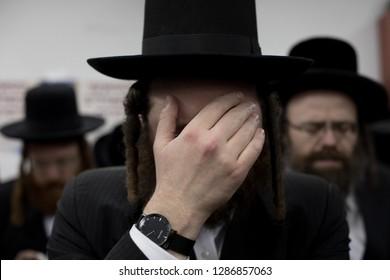 Lelow/Poland- 23 January 2018: Hassid jew is praying during Hassidic holiday of the 204 anniversary of tzadik Dawid Biderman's death